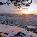 Winter sunset over Bergen from Fløyen