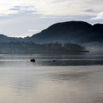 Fishing boat in the mist