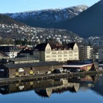 View from bridge across from our apartment - Bergen-equivalent of Motat reflected in Puddefjord.