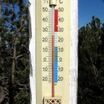 Thermometer at top of hill