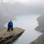 Standing on Trolltunga.  The next people in the queue offered to take this photo.