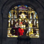 The stained glass windows inside the church were very impressive