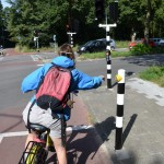 In the cycle lane, setting the lights to change.  One of the few places where bicycles didn't have right of way over cars
