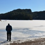 Second visit: Brian cautiously tests the unsafe ice