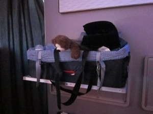 Infant cot (up to 18kg).  Cot is strapped in, but baby is not.  We kept baby sleeping on our lap, and used the cot for storage space.