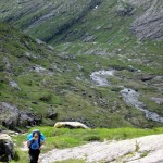 Trampling up the steep valley to the plateau
