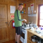 Cooking at the hut